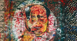 "Sigmar Polke, ""Mao,"" 1972, synthetic polymer paint on patterned fabric mounted on felt with wooden dowel. ©2014 The Estate of Sigmar Polke/Artists Rights Society (ARS), New York/VG Bild-Kunst, Bonn, Germany"
