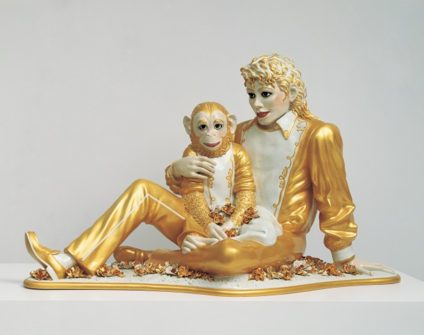 "Jeff Koons, ""Michael Jackson and Bubbles,"" 1988, porcelain. Private collection. © Jeff Koons"