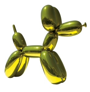 Jeff Koons, Balloon Dog (Yellow), 1994 – 2000, mirror-polished stainless steel with transparent color coating. Private collection. © Jeff Koons.